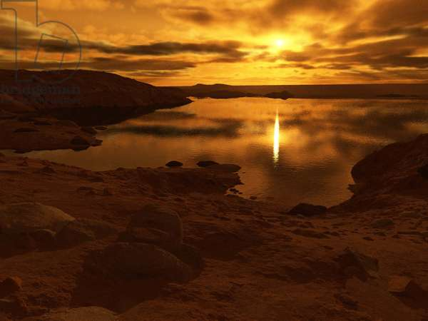 Methane lake on Titan - Artist view - Titan lake - Artist view - Artist view from the surface of the Titan satellite. The Cassini probe confirmed that methane or ethane lakes exist on its surface. Lakes of liquid methane or exotic hydrocarbons cover the surface of Titan