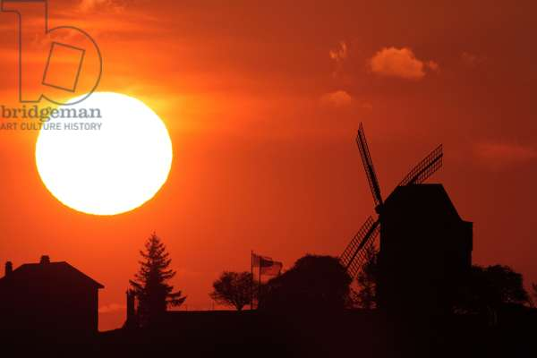Sunset on the mill of Verzenay - Sunset and windmill - Marne, Champagne - Ardenne. Windmill in Verzenay, Marne, France