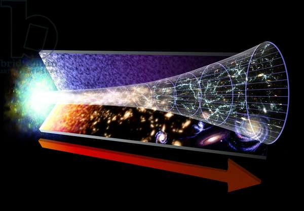 From Big Bang to Today - Evolution of the Universe - Artist's view showing the stages of formation of the universe. This image represents the evolution of the Universe, starting with the Big Bang. The red arrow marks the flow of time