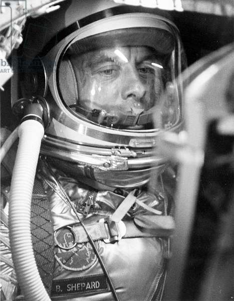 Mercury - Redstone - 3: A.Shepard has training - Alan Shepard suited up inside the Mercury capsule undergoing a flight simulation test. Apr 29 1961
