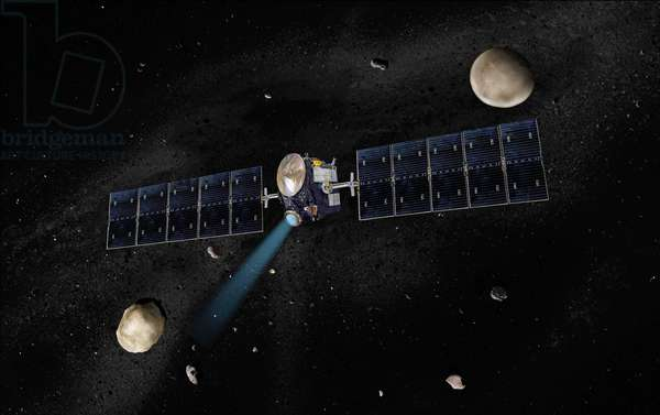 Dawn and Vesta and Ceres - Artist's concept of the Dawn spacecraft with Vesta and Ceres - Artist's view of the Dawn probe near the Vesta asteroid and the dwarf planet Ceres Artist's concept of the Dawn spacecraft with Vesta and Ceres. Dawn, part of Nasa's Discovery Program of competitively selected missions, was launched in 2007 to orbit the large asteroid Vesta and the dwarf planet Ceres. The two bodies have very different properties from each other. By observing them both with the same set of instruments, Dawn will probe the early solar system and specify the properties of each body