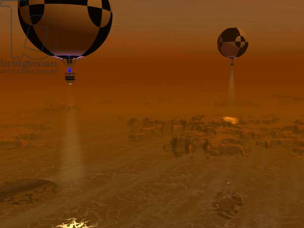 """Titan Exploration - Illustration - Exploring a hydrocarbon swamp on Titan - Automatic balloons fly over an oil marsh on the surface of Titan. A pair of balloon - borne probes leisurely survey a methane - ethane """""""" swamp"""""""" on Titan. Each probe carries its own spot light illuminating the terrain below, augmenting the haze - filtered sunlight. Scientists have long speculated that methane and ethane may exist as liquids on Titan's extremely cold surface, but it wasn't until 2005 that the Cassini spacecraft's radar imager detected what indeed may be large hydrocarbon lakes on Titan's northern latitudes. While it is believed that the liquid in these lakes would be primarily methane and ethane, this won't be confirmed until the lakes - - if that's indeed what they are - - are actually sampled. Whatever lies on Titan's surface, there is the possibility that the ancient and exotic environment has given rise to compounds heretofore unknown on Earth. Large quantities of Methane and ethane exist in Earth's relatively warm environment as components of natural gas"""