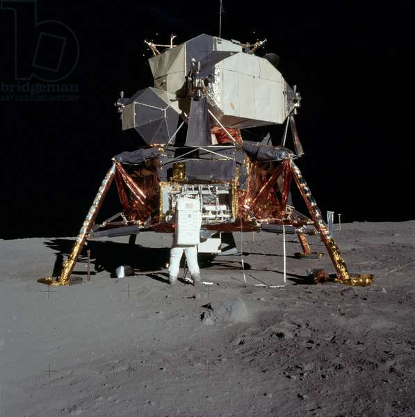 Apollo 11: E. Aldrin on the Moon - Apollo 11: E. Aldrin unpacks experiments from the LM - Edwin Aldrin unloads the material of the lunar module. 20/07/1969. E. Aldrin unpacks experiments from the Lunar Module. Jul 20 1969