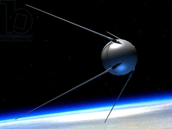 "Artificial satellite Sputnik 1 - Illustration - Artificial satellite Sputnik 1 - Illustration - Artist's view of the Sputnik satellite 1. This satellite was the first artificial satellite on Earth. Put into orbit on October 4, 1957, it rotated around the Earth in 97 minutes. Its only functionality was the broadcast of a ""beep-beep"" on radio waves"