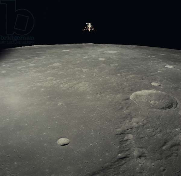 "Apollo 12: the LEM above the Moon 11/1969 - Apollo 12: LM above Moon - 11/1969 - View of the LEM above the crateres Ptolemee, Herschel & Lalande. 19/11/1969. View from Command Module of Lunar Module """" Intrepid"""" over craters Ptolemaeus, Herschel & Lalande C.Nov 19 1969"