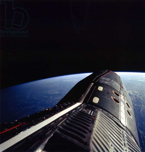 View of Gemini 12 - Gemini 12 spaceship - The Gemini 12 module photographed by Edwin Aldrin during its extravehicular release. Astronaut Edwin E. Aldrin Jr., pilot of the Gemini 12 space flight, took this picture of the Gemini 12 spacecraft during standup extravehicular activity (EVA) with the hatch open. Nov 13 1966