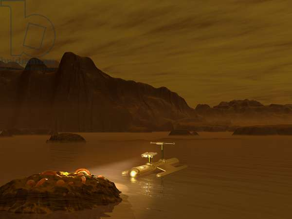 Exploration of Titan - Illustration - Looking for life on Titan - An automatic probe explores a hydrocarbon marsh in search of traces of life. A robotic probe explores a frigid ethane lake on Titan. Like the European Space Agency's Huygens probe, this probe carries its own light source as the surface of Titan is only 0.1 percent as bright as the Earth's. Titan is host to a plethora of organic (carbon - based) compounds, hence this is one of the few places in the Solar System where life outside of the Earth may have evolved. In many ways, Titan resemble a frozen primordial Earth, though the greatest obstacle to Titan harboring life - - as we know it - - is the extreme cold. Even though all the chemical ingredients are present, Titan simply may not be warm enough to initiate the chemical reactions required for life. Perhaps sometime in the next decades such a mission to Titan will be a reality