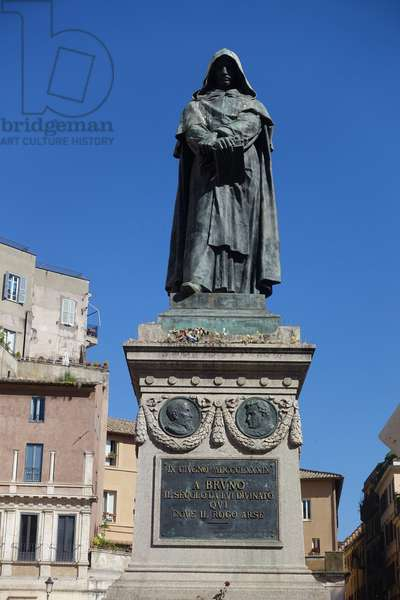 The bronze monument to Giordano Bruno (1889) by Ettore Ferrari (1845-1929), Campo dei Fiori, Rome. Giordano Bruno (1548-1600) was an Italian Dominican friar, philosopher, mathematician and astronomer, who was found guilty of heresy and burnt by the Inquisition.