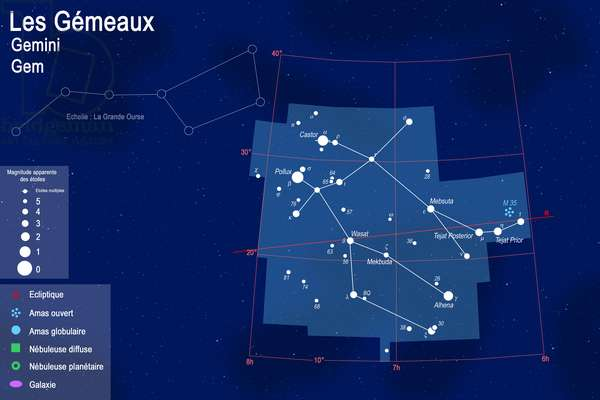 Constellation of Gemels - Constellation of Gemini - Map of the constellation of Gemels with its main Celestial objects. The Great Bear is indicated for the scale. Map showing the constellation of Gemini with its main celestial objects. Constellation of Big Dipper is shown at scale