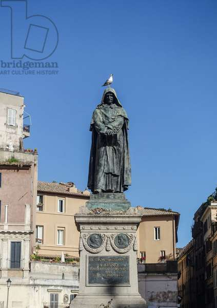 Statue of Giordano Bruno in Rome - Bronze statue of Giordano Bruno (1889) by Ettore Ferrari (1845-1929), Campo dei Fiori, Rome. Giordano Bruno (1548-1600), Dominican monk, philosopher, victim of the Inquisition. On the basis of Copernicus's work, he shows philosophically the relevance of an infinite universe, people of countless worlds identical to ours. Accused of heresie, book to the Inquisition and torture, he was sentenced to death and burned alive, in Rome, 16 February 1600. The bronze monument to Giordano Bruno (1889) by Ettore Ferrari (1845-1929), Campo dei Fiori, Rome. Giordano Bruno (1548-1600) was an Italian Dominican friar, philosopher, mathematician and astronomer, who was found guilty of heresy and burnt by the Inquisition.