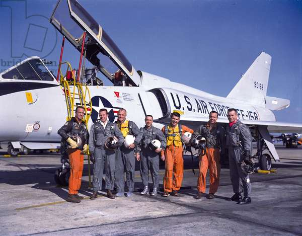 Mercury: portrait of astronauts - Mercury astronauts - The astronauts of the Mercury program. From left to right: Scott Carpenter, Gordon Cooper, John Glenn, Virgil Grissom, Walter Schirra, Alan Shepard and Donald Slayton. 20 January 1961. 20 January 1961 Photo of the Mercury astronauts standing beside a Convair 106 - B aircraft. They are, left to right, M. Scott Carpenter, L. Gordon Cooper Jr., John H. Glenn Jr., Virgil I. Grissom, Walter M. Schirra Jr., Alan B. Shepard Jr., and Donald K. Slayton