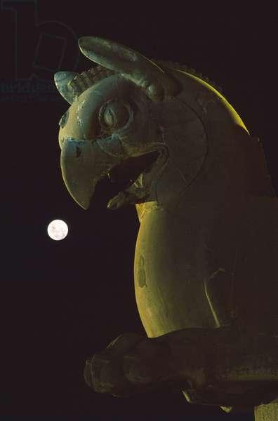 Full Moon on Persepolis - Full Moon above Persepolis - Full Moon and Griffon Sculpture in Persepolis in Iran. Full moon with griffon sculpture at Persepolis
