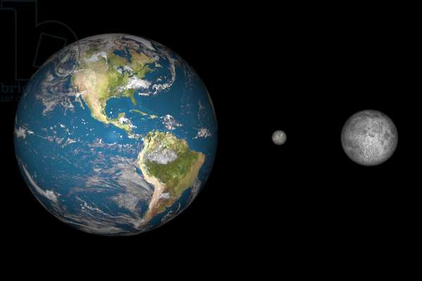 Comparison between the Earth, Ceres and the Moon - Ceres, Earth, & Earth's Moon compared - Comparison at the scale of the size of the Earth, the dwarf planet Ceres and the Moon. Ceres, the most massive object in the asteroid belt, is only 950 km in diameter. While Ceres is the most massive single object in the asteroid belt, it is yet quite small when compared with the Earth and moon