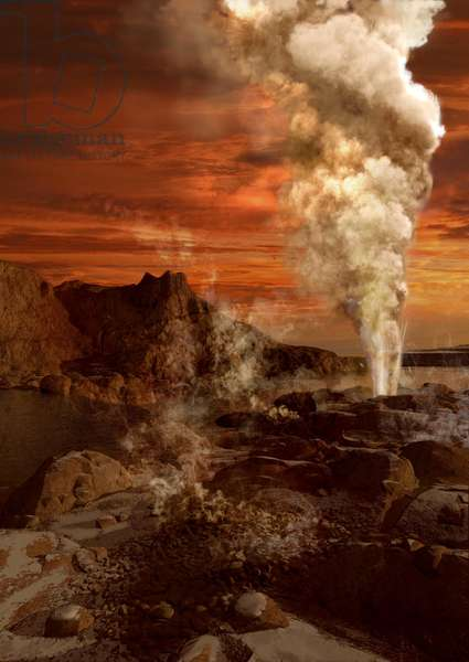 Geyser on Titan - Artist view - Cryogeyser on Titan - Artist view - Artist view of geysers on the surface of Titan, Saturn's largest satellite. Cryogeyser on Titan - Life Artist