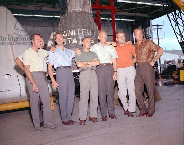 Mercury: Portrait of Astronauts - Mercury: Portrait of Astronauts - The original seven Mercury Astronauts. From left to right: Gordon Cooper, Walter Schirra, Alan Shepard, Virgil Grissom, John Glenn, Donald Slayton and Scott Carpenter. Oct 21 1963