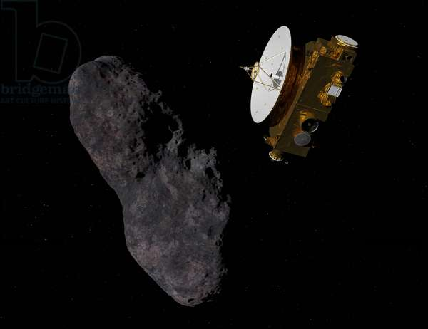 The New Horizons probe near 2014 MU69 - Artist's View - New Horizons and 2014 MU69 (single) - Artwork: Artist's view of the New Horizons probe near the small object of Kuiper 2014 MU69. Observations in 2017 show that 2014 MU69 would be either a binary object (model favors), in contact or not, or a single object lengthens (as here). Speculative illustration of Nasa's New Horizons interplanetary probe flying by classical Kuiper belt object (486958) 2014 MU69, about 3 billion miles from the Earth, on 1 January 2019. 2014 MU69 is either a single elongated object about 30 miles long, or two smaller objects orbiting very closely together, maybe even touching; this image illustrates the latter. New Horizons is about the size and shape of a grand piano and weighed 1,054 pounds at launch. The high-gain dish antenna is about 7 feet in diameter and is employed for communication with the Earth