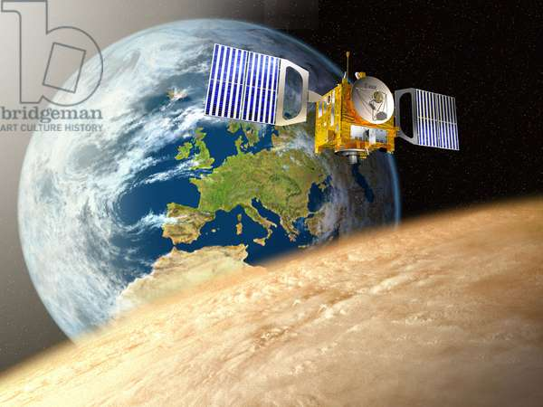 Venus Express Probe - Artist's View - The European Venus Express probe was launched on November 9, 2005 and has been placed in orbit around Venus since April 11, 2006. Artist view of Esa's Venus Express probe travelling from Earth to Venus. The two planets are not shown to scale