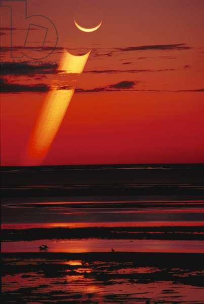 Moon Sunset - Crescent moon at sunse