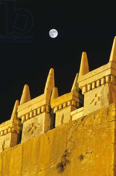 Full Moon on Persepolis - Full Moon above Persepolis - Full Moon above carved stones with horns. Full moon above horn - shaped stones at Persepolis