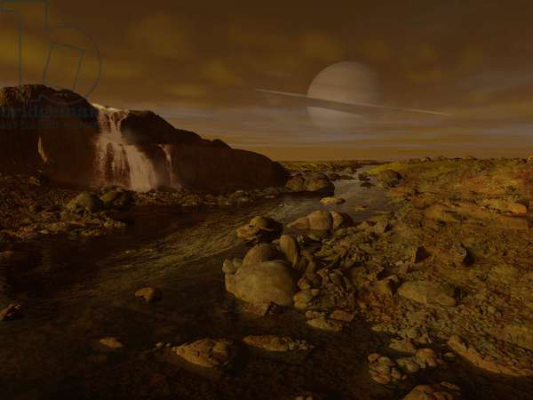 Riviere de Methane sur Titan - Artist's view - Titan methane river delta: Artist's view of the surface of the Titan satellite. The Cassini probe confirmed that lakes and rivers of methane or ethane exist on its surface