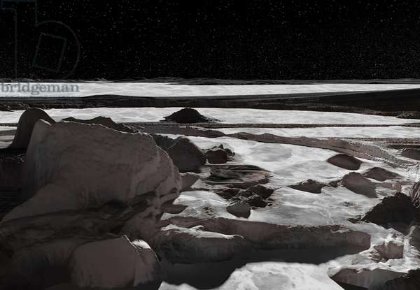 Surface de Ceres - Ceres ice field: Ice surface of the dwarf planet Ceres. Artist view
