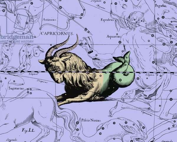 "Constellation Capricorn - Constellation of Capricorn - The constellation Capricorn extracted from the Uranographia of Hevelius. Recolorised image. Map showing the constellation of Capricorn with its mythological form from """" Uranographia"""" star atlas by Hevelius (1690). Recolored Image"