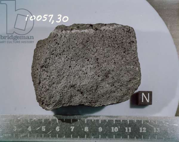 Apollo 11: lunar rock - Apollo 11: lunar rock: basaltic lunar rock brought back by astronauts from the Apollo 11 mission. Sample 10057 dcoup for analysis. Lunar basalt sample. The sample number is 10057, Split 30. This rock was among the samples collected by astronauts Neil A. Armstrong and Edwin E. Aldrin Jr. during their lunar surface extravehicular activity on July 20, 1969.