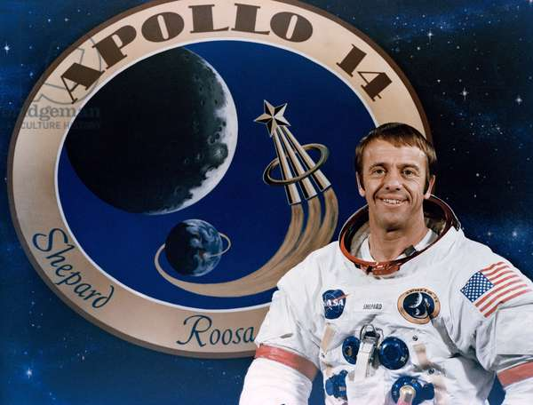 Apollo 14: Alan Shepard - Portrait of Alan Shepard. 03/12/1970. Astronaut Alan B. Shepard Jr., commander of the Apollo 14 lunar landing mission. The Apollo 14 emblem is in the background. The other two members of the crew are astronauts Stuart A. Roosa, command module pilot; and Edgar D. Mitchell, lunar module pilot. December 3 1970