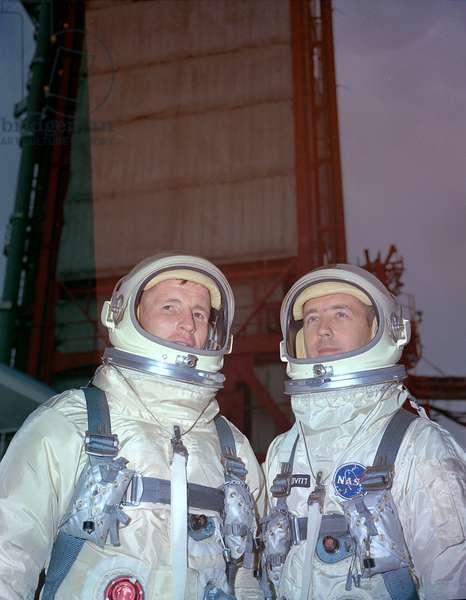Gemini 4: crew - Gemini 4 crew - Ed White and Jim McDivitt. May 29, 1966. Prime flight crew of Gemini 4, Ed White and Jim McDivitt, at Pad 19. May 29 1966