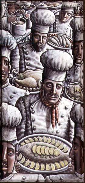 Chefs (acrylic on canvas and wood)