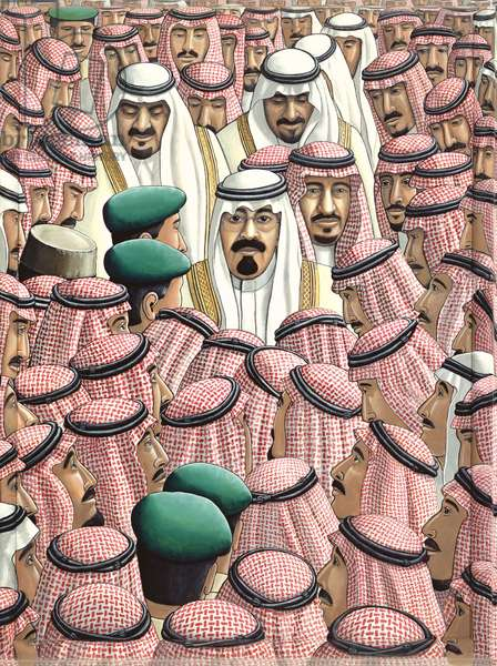 King Abdullah at his Coronation, 2007 (acrylic on canvas & painted wood frame)