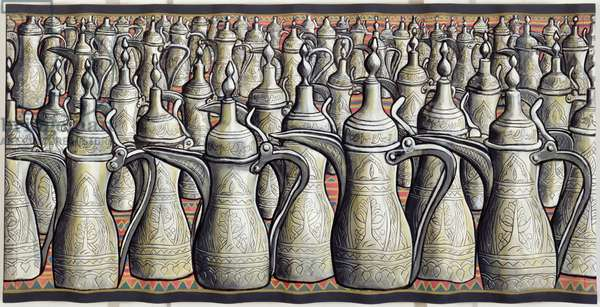 Coffee pots, 2008 (acrylic on canvas on corrugated wood support)