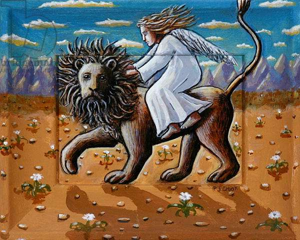 The Angel and the Desert Lion, 2006 (acrylic on wood)