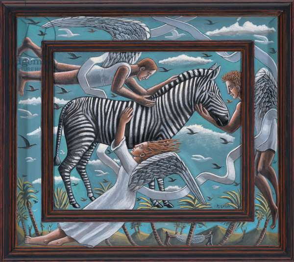Saving the Zebra,2019,(tinted gesso canvas on wood)