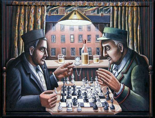 Chess Players, 2003 (acrylic on canvas & wood)
