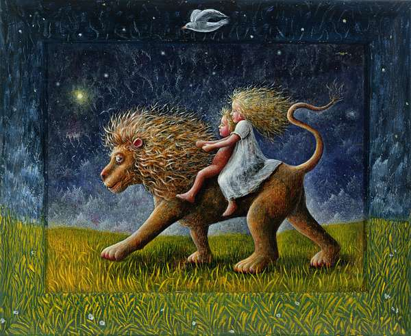 The Infants and the Lion, 1978 (oil on wood)