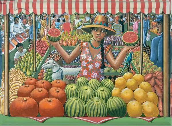 THE MELON SELLER, 2015, (tinted gesso on canvas & wood)