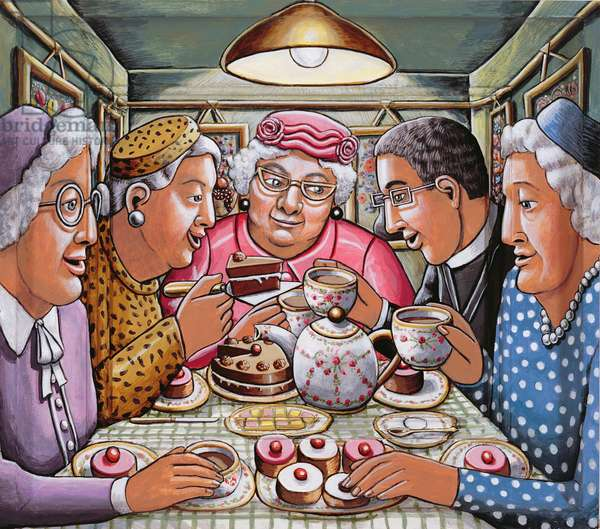 The Curate Taking Tea with the Ladies, 2009 (acylic on wood)