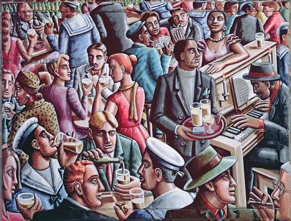 Piano Bar, 1998 (acrylic on canvas and wood)