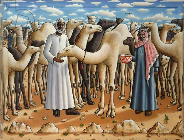 The Camel Herdsmen, 2007 (acrylic on canvas & painted wood frame)