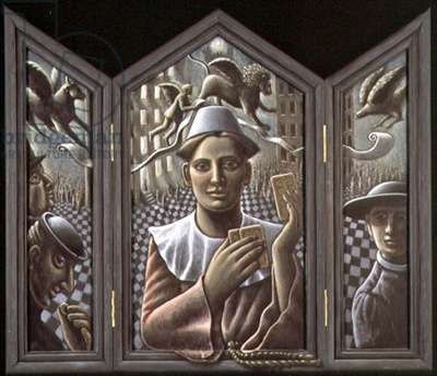 The Trickster and the Evangelist, 1992 (acrylic on hinged panels)