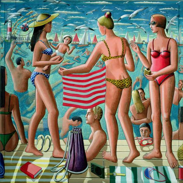 The Bathers (acrylic on canvas on panel)