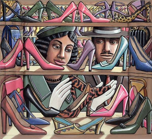 Bags and Shoes (Objects of Desire), 2008 (acrylic on canvas & painted wooden frame)
