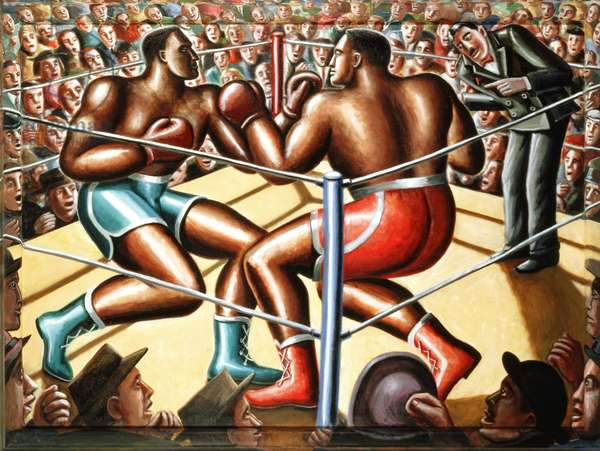 The Big Fight (oil on canvas on wood)