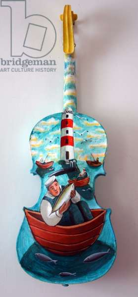 The Fisherman, 2009 (oil on prepared wooden 'cello (back))
