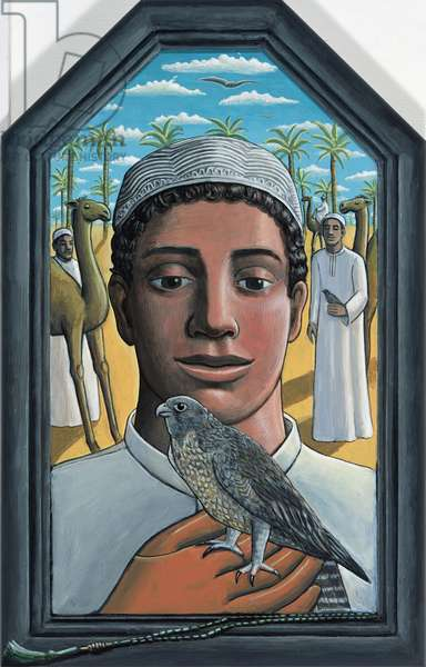 Boy with Falcon, 2009 (acrylic on wood)