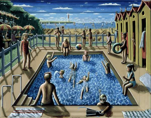 The Swimming Pool, 1989 (acrylic on canvas and wood)