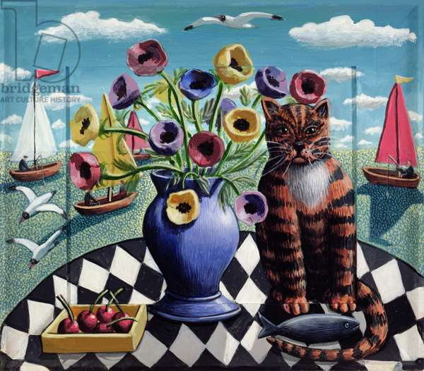 Cat, Fish and Flowers, 2008 (acrylic on wood)