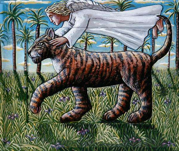 Angel Guiding Tiger, 2006 (acrylic on wood)