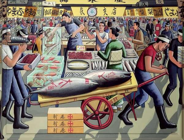 Tsukiji Fish Market, 2005 (acrylic on canvas)